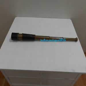 leather mount stunning vintage maritime pirates spyglass antique telescope