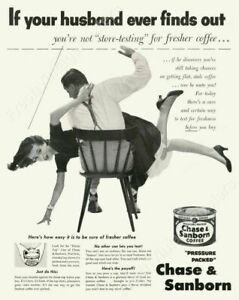 Reasonable 1952 Husband Spanking Spanks Wife Photo Chase & Sanborn Coffee Ad Poster 24x19 High Quality Goods Advertising