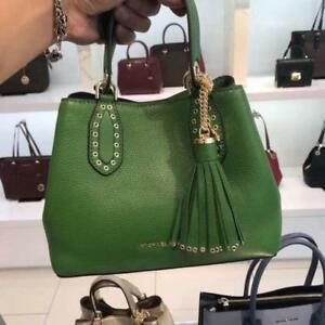 47b94f17d183 Details about New Michael Kors True Green Brooklyn Small Leather Tote  Satchel Bag - NWT  358