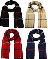 Unisex Soft Touch Feel Checked Multi Check Long Scarf Red Cream Blue Black