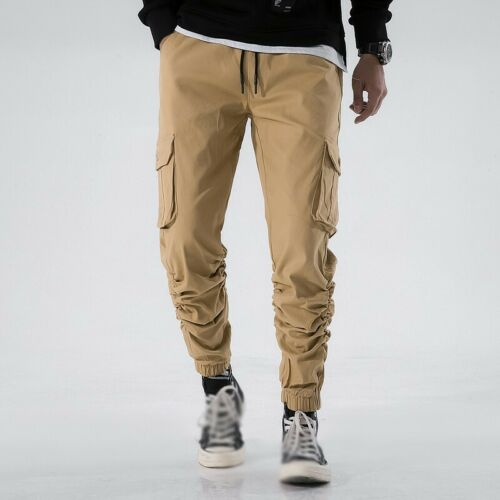 Mens Cargo Harem Pants Tapered Elasticated Trouser Outdoor Casual Multi-pocket B