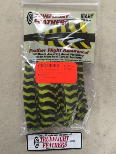 Trueflight Full Length Feathers Right Wing 50 Pack Chartreuse Barred