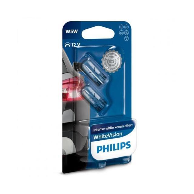 Bombillas Philips White Vision W5W Lámparas hasta 3400K Lámparas Blue Vision