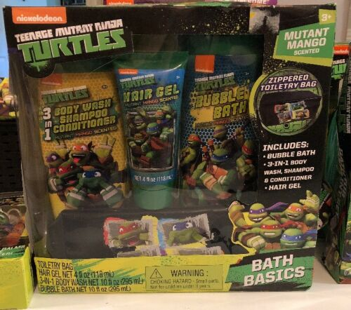 NEW Teenage Mutant Ninja Turtles Bath Set Body Wash Gel Travel Bag Shampoo
