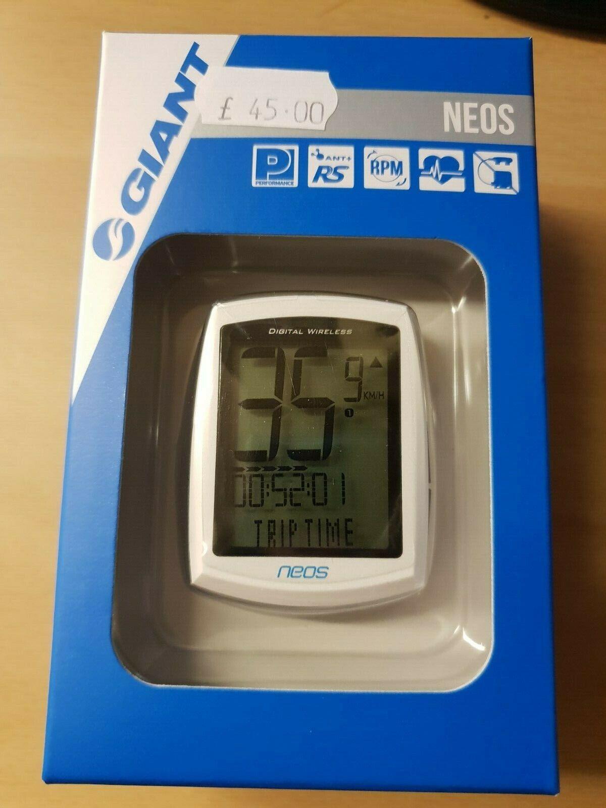 Giant Neos ANT + Digital Vélo Ordinateur Sans Fil blanche Cadence fréquence cardiaque HR
