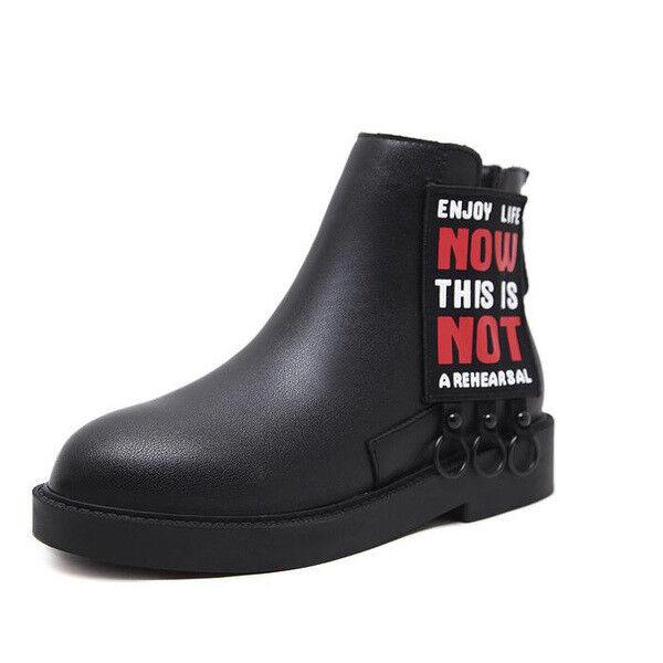 botas Bikers Negro Piel Sintético Cómodo botas Militares Mujer Talón 3 1492