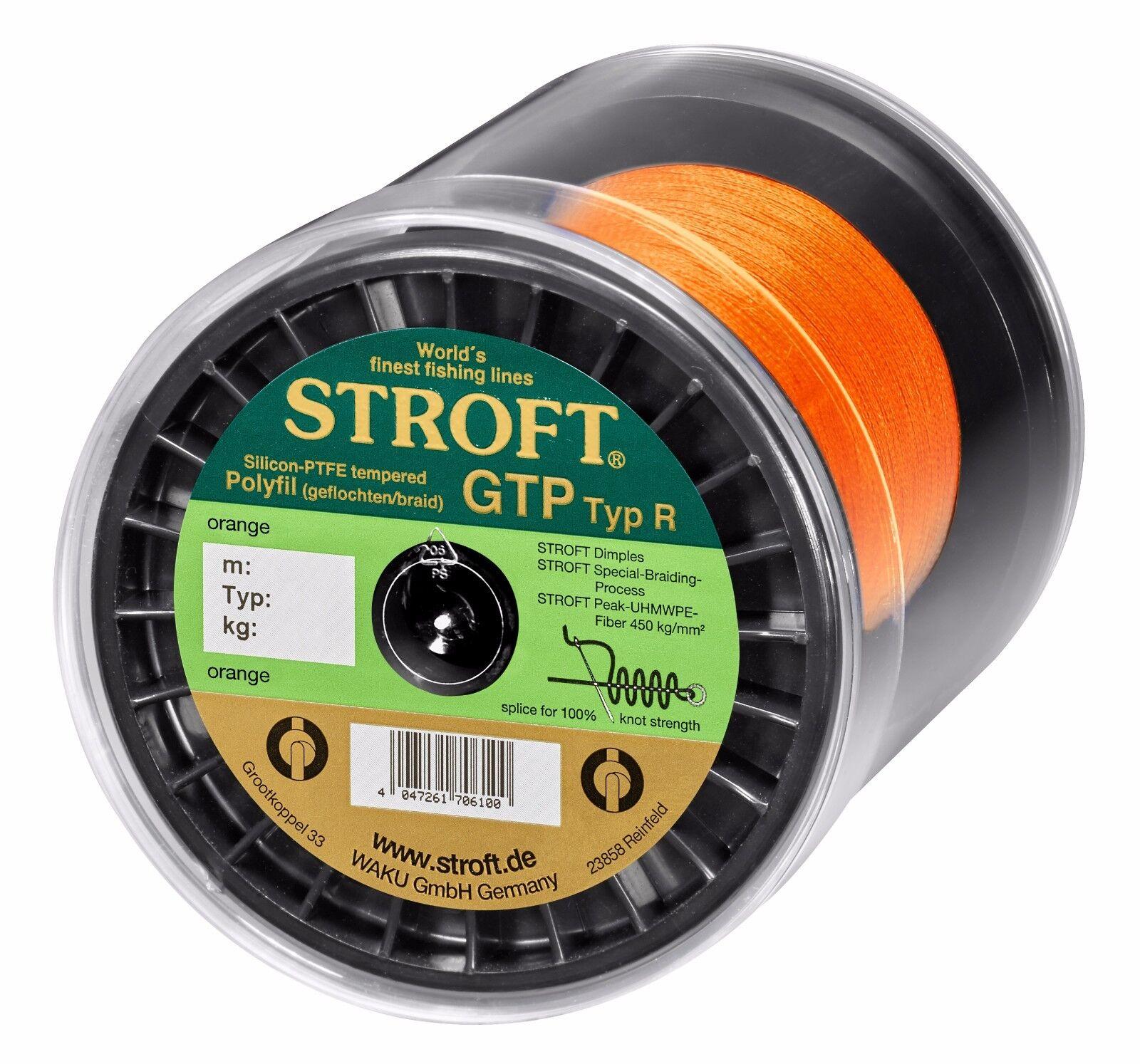 Angelschnur STROFT GTP Typ R Orange 100m 250m 500m 1000m Geflochtene Schnur