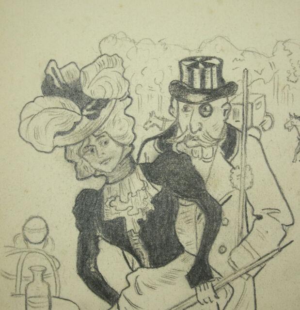 Edward le Grand Caricature Funny Drawing Original Pencil October 1902