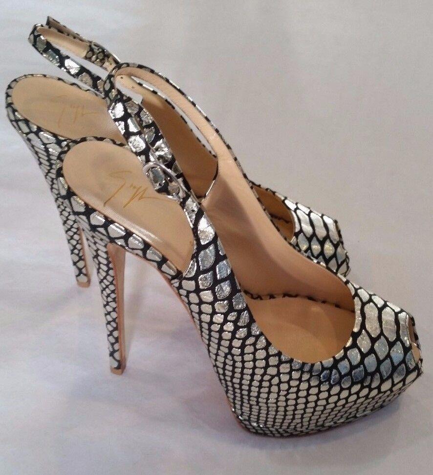 775 Giuseppe Zanotti Vero Guoio Leather Peep Toe Pump shoes Size 38