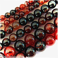 "DREAM AGATE BEADS 8MM ROUND 15"" BEAD STRANDS DARK BROWN AND AMBER COLORS Colors"