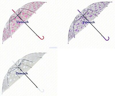 Nuova Grande Stampato Ombrello Impermeabile Trasparente Pulsante Rilascio Donna Uomini Uk ✔-mostra Il Titolo Originale