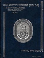 ☆* USS GETTYSBURG CG-64 MED DEPLOYMENT CRUISE BOOK YEAR LOG 2001 - NAVY *☆