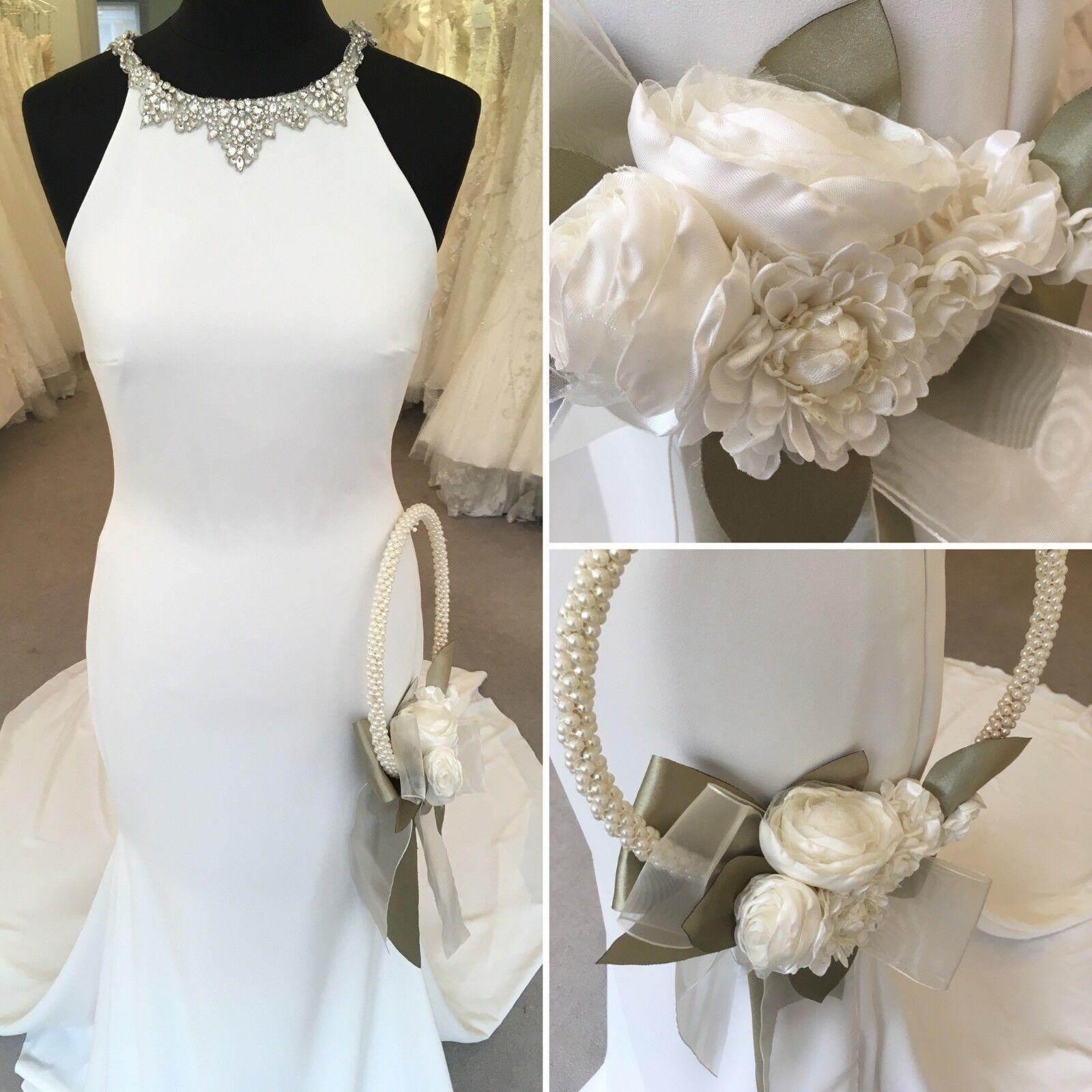 Wedding Bridal Bouquet Hoop - Ivory Satin & Organza Flowers Unique Handmade