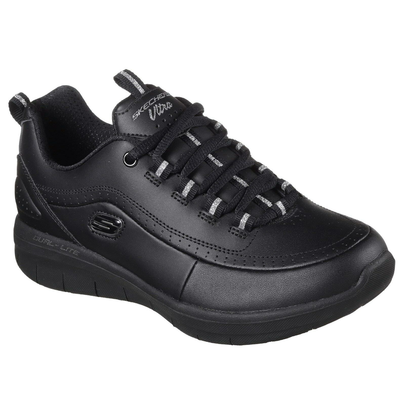 Skechers Synergy 2.0 Leather Memory Foam shoes Womens Trainers Sports Fitness