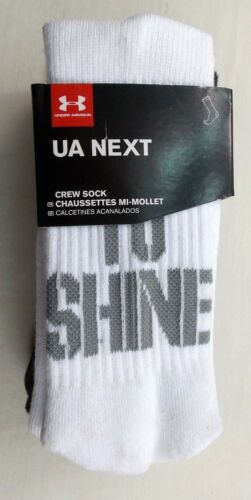 Under Armour NEXT Crew Socks 3 Pairs Pack Youth Large YLG Grind To Shine New Tag
