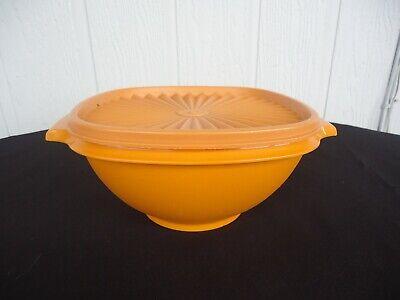 vintage retro orange tupperware bowl container pleated lid