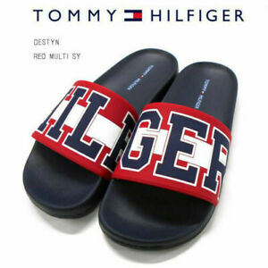 Tommy-Hilfiger-Destyn-Women-039-s-Sandal-Red-Off-White-Blue-Slides-Size-8