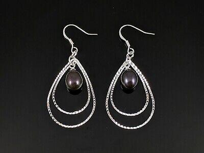 Natural 7-8mm Black Freshwater Pearl Silver Dangle Earring