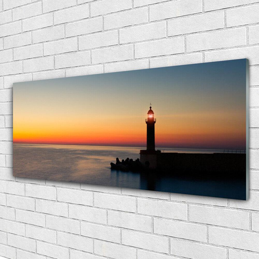 Tableau murale Impression sous verre 125x50 Paysage Phare Mer