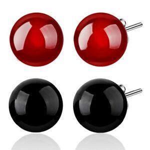 6-8mm-Achat-Kugel-Ball-Perlen-Ohrstecker-aus-925-Sterlingsilber-rot-schwarz