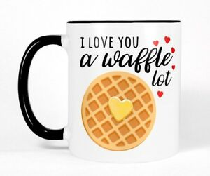 Details about I Love You a Waffle Lot Cute Funny Coffee Mug Gift Husband  Boyfriend Girlfriend