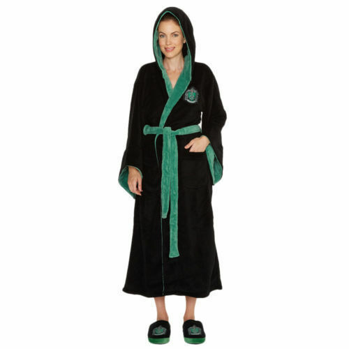 Official Harry Potter Slytherine Women's Bathrobe Dressing Gown with Hood