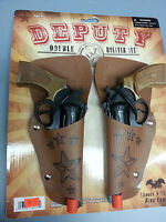 Deputy Double Toy Cap Gun Pistol Holster With Orange Tip Length 8