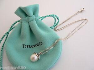 4487f4d2f Tiffany & Co Silver Heart Cap Pearl Necklace Pendant Charm Chain ...