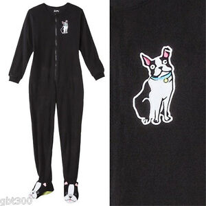 796c092589 Image is loading ADULT-FOOTED-Fleece-Pajamas-DOG-Boston-Terrier-Footsie-
