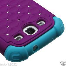 Samsung Galaxy S3 i9300 Hybrid Spot Diamond Hard Case Skin Cover Purple Blue