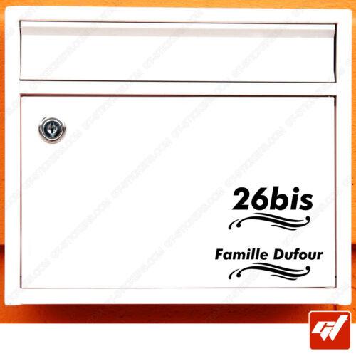 Sticker Autocollant Boite aux lettre noms et numero a personnaliser deco BAL19
