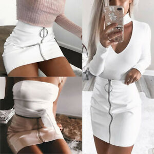 Hot-Women-039-s-Ladies-Casual-High-Waist-A-Line-Bodycon-Pencil-Mini-Short-Skirt