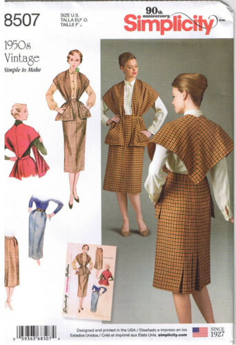 Vtg 50s Side Back Pleated Skirt Stole With Pockets Sewing Pattern 16 18 20 22 24