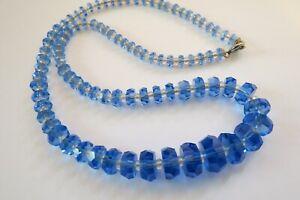 Vintage-Blue-Cut-Crystal-Necklace-Unique-Flat-Rondelle-Beads-Graduated-18-034-Long