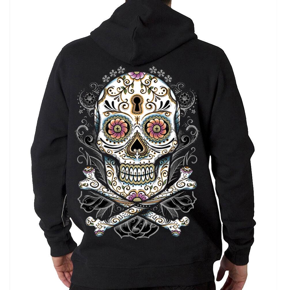 Big Floral Sugar Skull & Bones Day Of The Dead Muerte Hooded Sweatshirt Hoodie