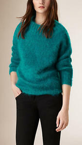NWT-595-Burberry-Brit-Mohair-Wool-Sweater-Top-Blouse-Fur-Boat-Neck-Green-Teal
