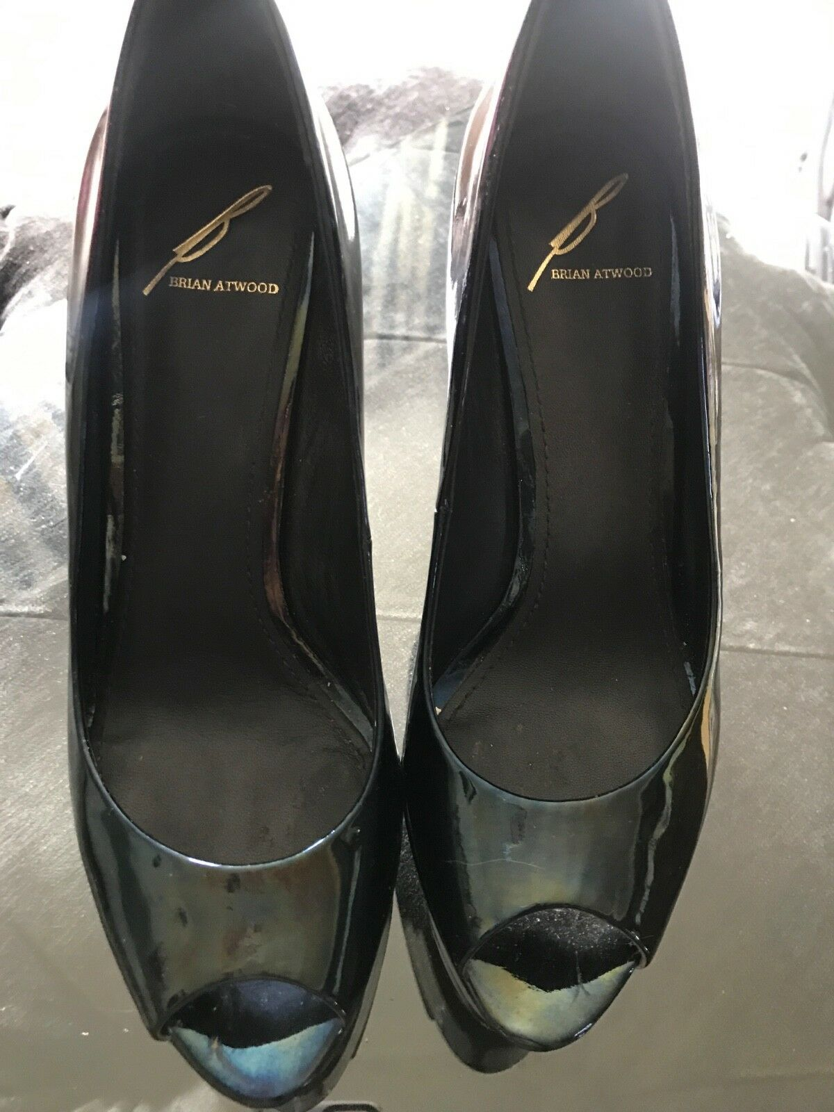 B brian atwood Patent leather peep toe pumps