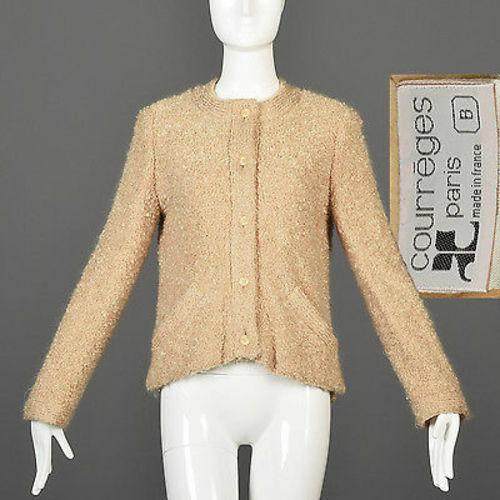 M Vintage 1960s 60s  Mod Courreges Boucle Tejido Cochedigan Sweater Chaqueta Beige Gogo  más orden
