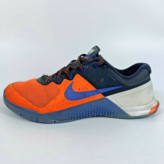 Nike Mens Metcon 2 FlyWire 819899-841 Orange Blue Running Shoes Lace Up  Size 10