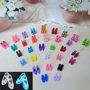 24 Schuhe = 20 Zufällige Sandale + 4 Imitate Kristall High Heel Für Barbie Puppe