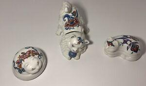 Vintage  Elizabeth Arden 3 Candle Cat Figurines With Lids