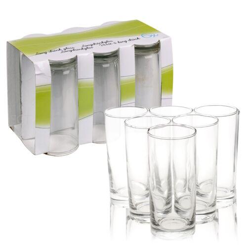6 x 35cl Tall Classic Hi Ball Drinking Water Glasses Gift Box Set Wedding Xmas
