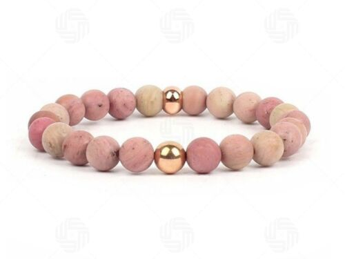 Pulsera de la Piedra Preciosa Natural Rhodonite Chakra Reiki Yoga Piedra Rosa meditación UK