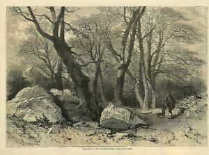Foret De Fontainebleau Dessin De Ciceri Gravure Engraving 1867 Ebay