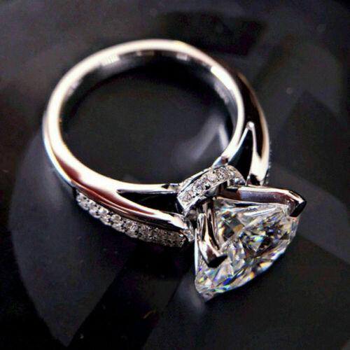 3.20 Ct Round Diamond Solid 14K White Gold Finish Beauty Wedding Engagement Ring