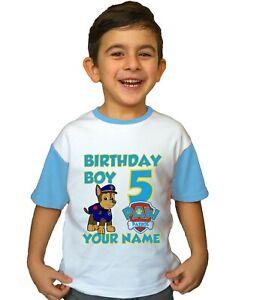 Birthday Paw Patrol Logo Kids Children Personalized Name T-shirt Clothing Boy