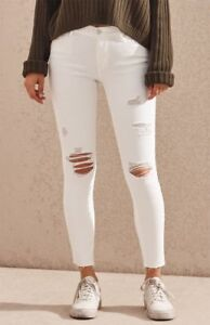 Image is loading New-Womens-Pacsun-White-Distressed-Mid-Rise-Skinniest- b64d8e846