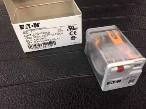 Full Feature BUY MORE /& SAVE 10/% ! Eaton D3PF2AA DPDT Octal Relay 120VAC Coil
