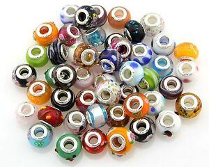 100Pcs Bulk Lots Mix Murano Glass Big Hole Beads Lampwork Fit Charm Bracelet GH1