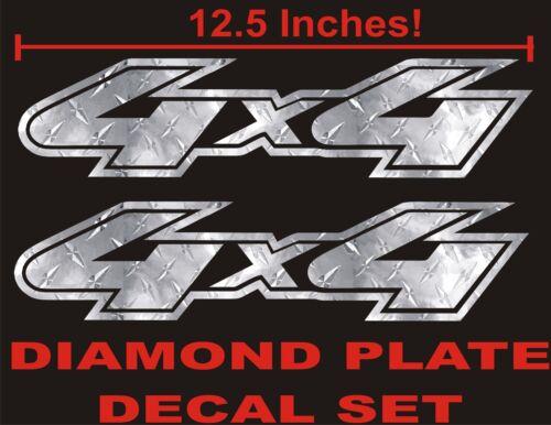4x4 Truck Decal Set DIAMOND PLATE CHROME for Ford F150 Super Duty Ranger
